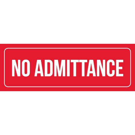 Red Background With White Font No Admittance Office Business Retail Outdoor   Indoor Metal 3 X 9 Wall Sign