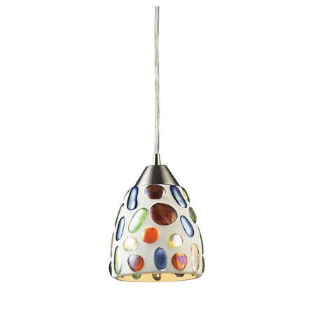 Elk Lighting Gemstones LED Pendant in Satin (Nickel Super Gem)