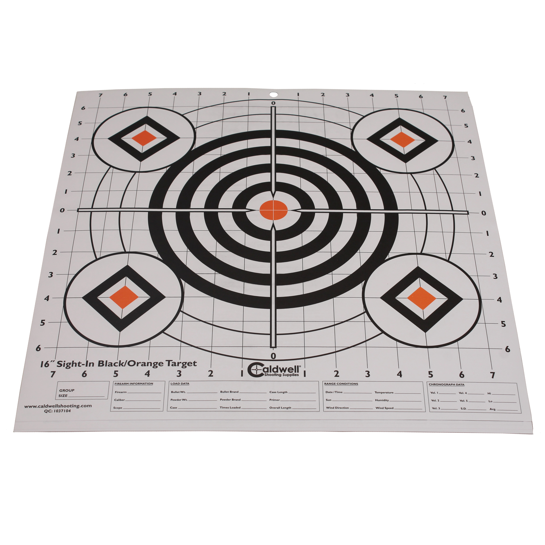 "Caldwell Sight-In Target 16"" (Per 10) Black and Orange"