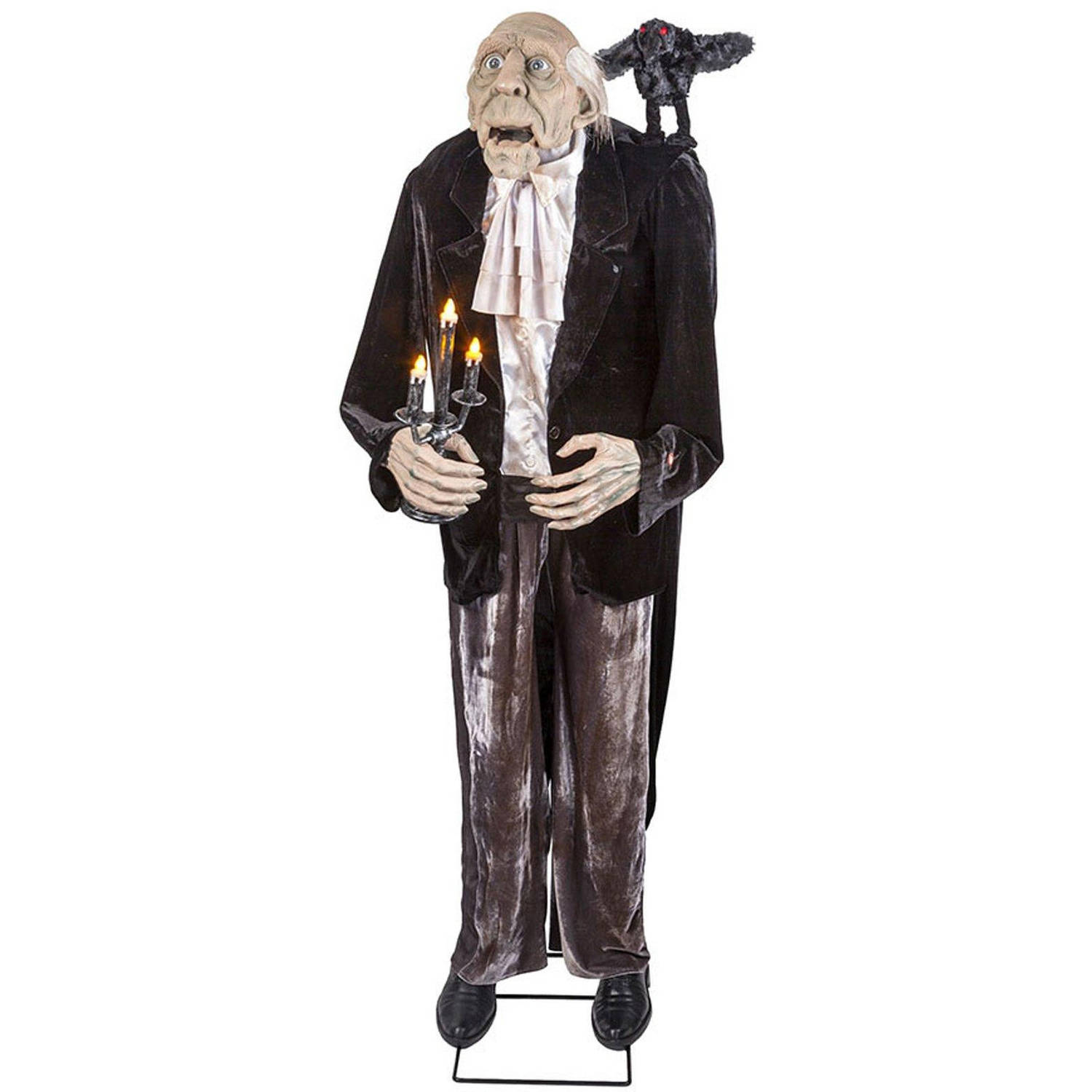 Animated Talking Butler And Crow with Light-Up Candelabra Halloween Decoration