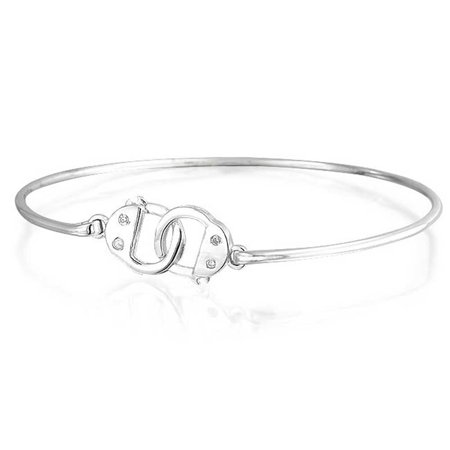 046f8376c Bling Jewelry - Minimalist Partner In Crime Handcuff Working Lock Bracelet  Thin Bangle For Women For Teen CZ Accent 925 Sterling Silver - Walmart.com