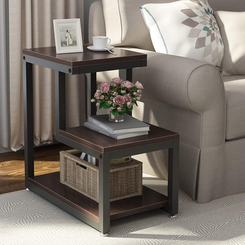 rustic end table 3tier bed side table night stand with