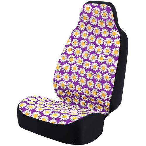 Coverking Universal Seat Cover Fashion Print, Ultra Suede, Daisy Crazy White Flowers and Purple Background with Black Interlock Backing