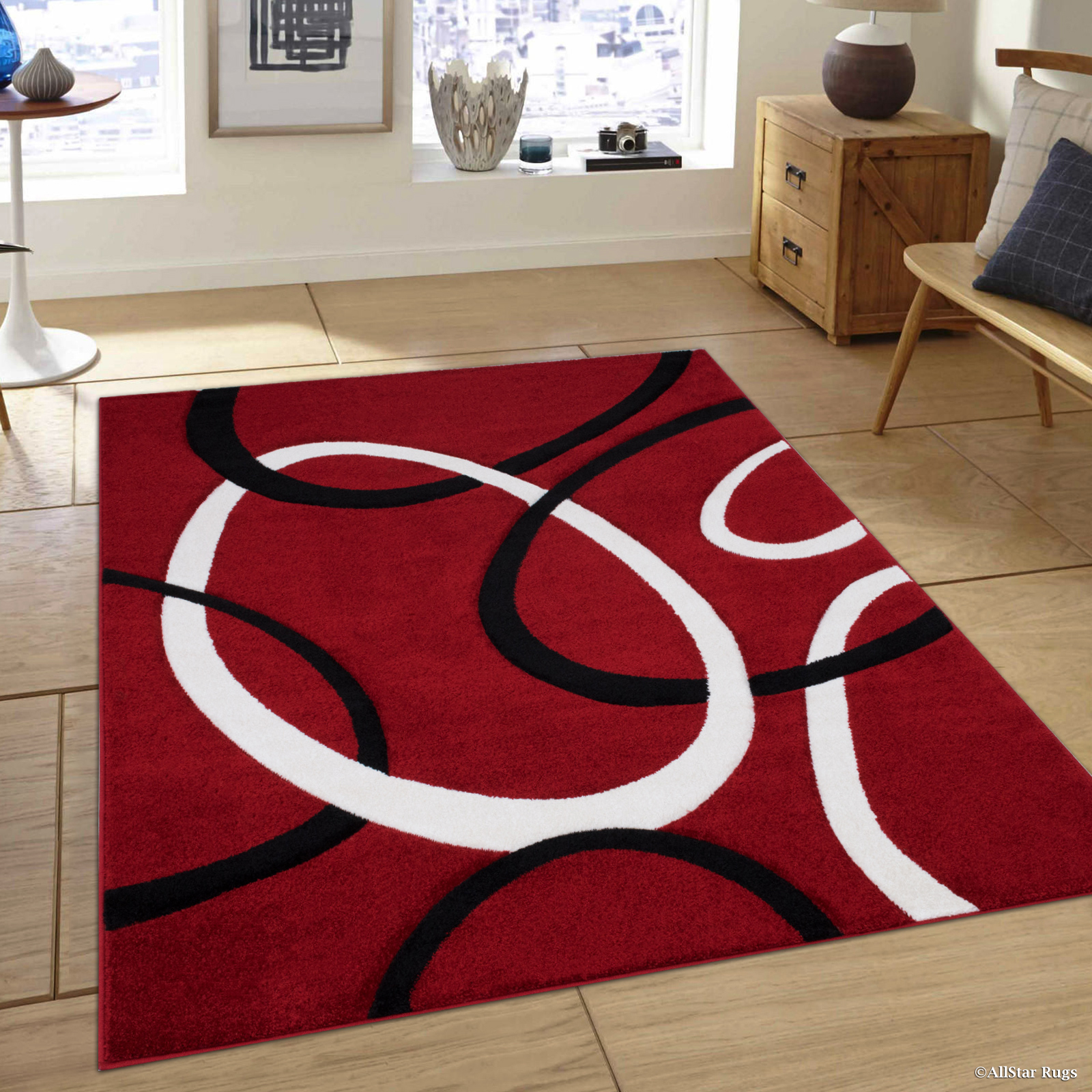Allstar Red Modern Geometric Black Circle Design Area Rug