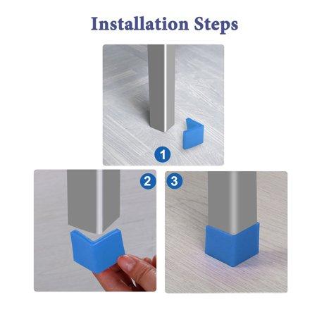40mm x 40mm Angle Iron Foot Pad L Shaped PVC Leg Cap Floor Protector Blue 6 Pcs - image 2 de 7
