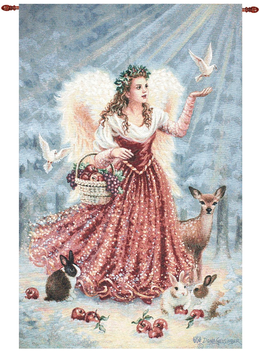 "Christmas Angel with Dove and Animals Cotton Tapestry Wall Hanging 36"" x 26"" by Manual Weavers"
