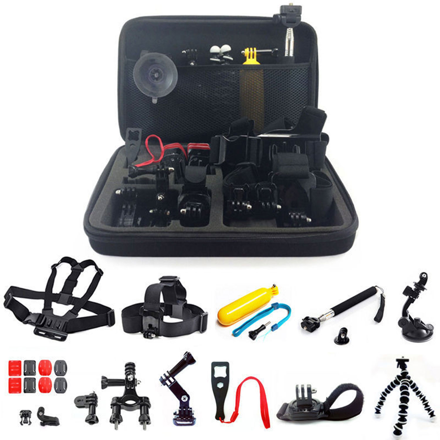 GPCT 26-in-1 Mount Accessory Kit for GoPro Hero 1/2/3/3+/4/5 Camera (Includes Carrying Case, Head Mount, Tripod, Arm, Handlebar Mount and More!)