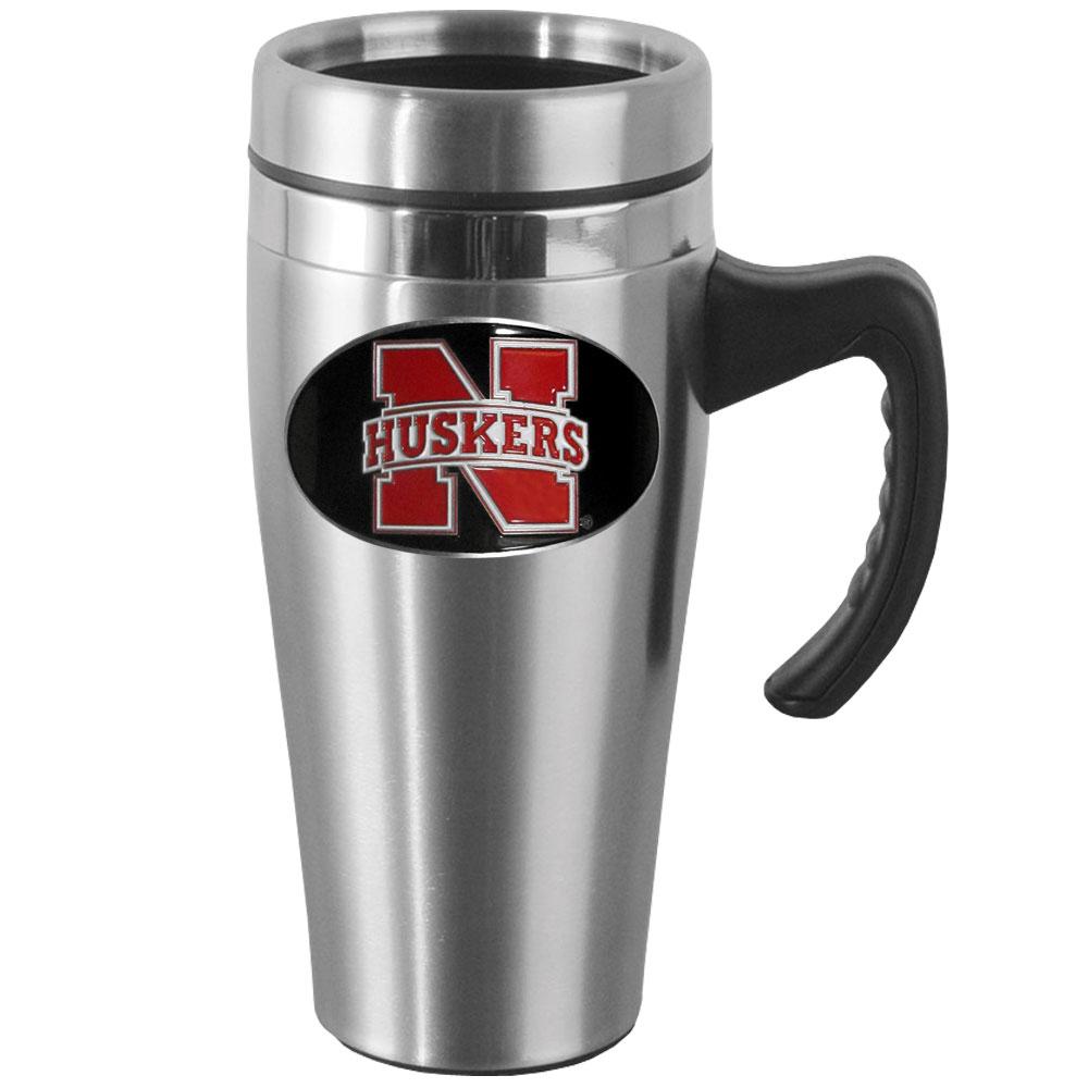 Nebraska Steel Travel Mug w/Handle
