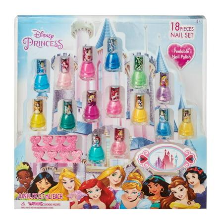 ($15 value) Disney Princess Nail Polish Gift Set Sparkle, Peel-Off, 18 pc (Nail Polish Colors Set)