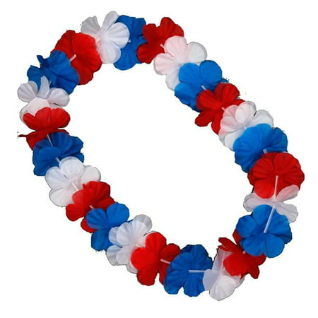 Blinkee A6000 Hawaiian Flower Lei Necklace, Red, White & Blue - image 1 of 1