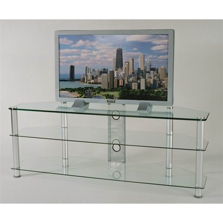 Contemporary TV Stand w 3 Glass (Silver Audio Video Stand)