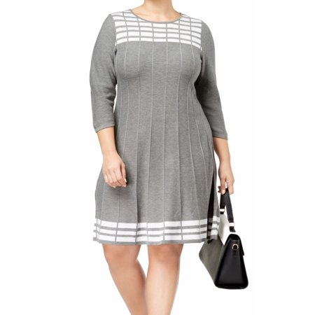 JESSICA HOWARD Womens Gray Sweater 3/4 Sleeve Crew Neck Above The Knee Fit + Flare Dress Plus  Size: