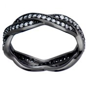 Emitations Black and White CZ Twisted Wedding Ring