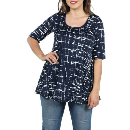 Circle Print Top (Women's Plus Size Navy Print Elbow Sleeve Plus Size Swing Tunic)
