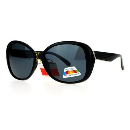 SA106 Antiglare Polarized Lens Oversize Butterfly Womens Sunglasses Black