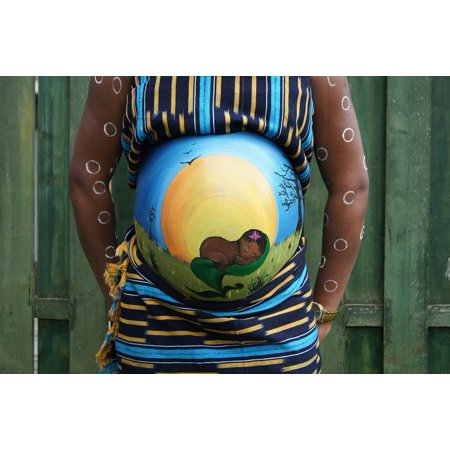 Framed Art for Your Wall Baby Africa Pregnant Belly Painting Bellypaint 10x13 Frame