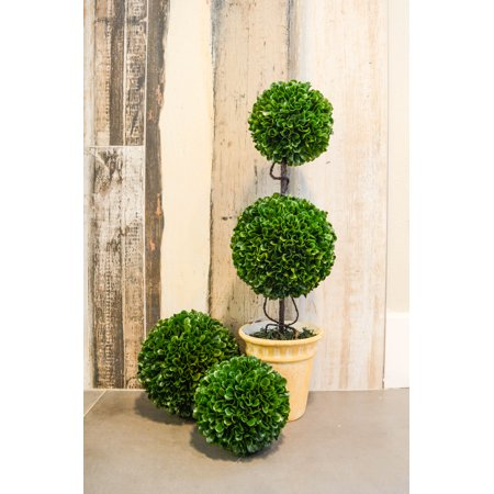"Admired By Nature 21.5"" Faux Preserved Artificial Boxwood Topiary Plant Tree Tabletop Double Balls In Pot, Green"
