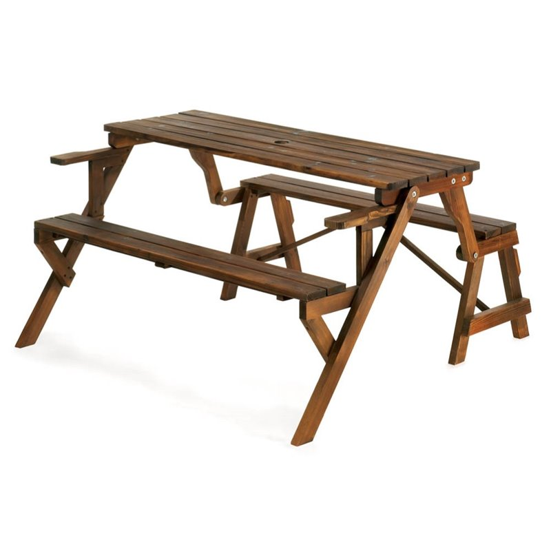 Zingz and Thingz Convertible Picnic Table in Rustic