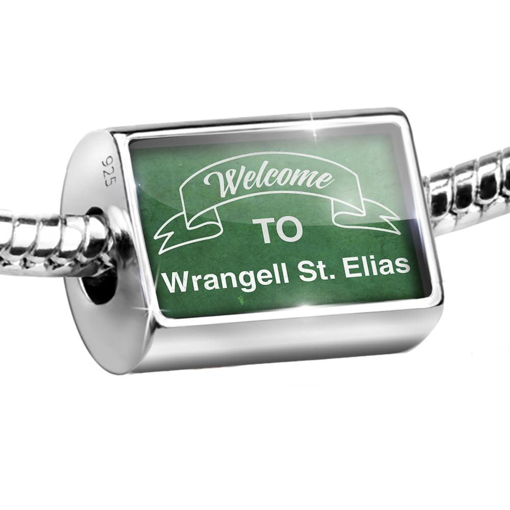 Bead Green Sign Welcome To WrangellSt.Elias Charm Fits All European Bracelets