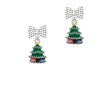 enamel christmas tree white bella bow crystal earrings