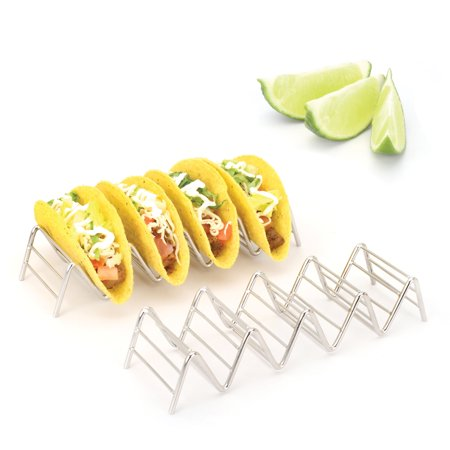 2LB Depot Taco Holder, Taco Stand, Taco Rack, Premium 18/8 Stainless Steel, Taco Holders Hold 4 or 5 Hard or Soft Shell Tacos, Set of Two