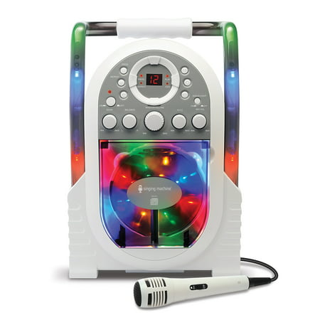 The Singing Machine SML505 Portable CD + G Karaoke System with LED Disco Lights and Wired Microphone,