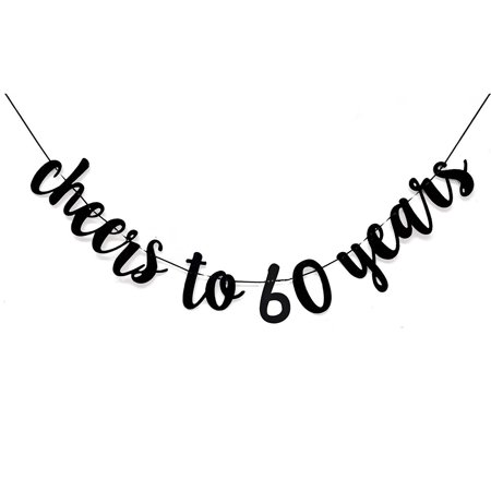 Sixty Birthday Decorations (Black Cheers to 60 Years Banner for 60th Birthday Party)