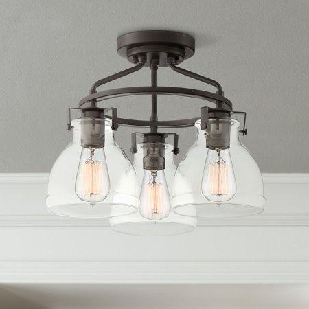 "Possini Euro Design Possini Euro Bellis 14 1/2""W Bronze 3-Light Ceiling Light"
