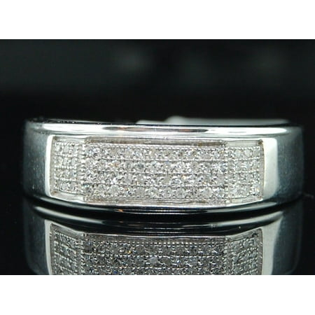 Diamond Wedding Band .925 Sterling Silver Mens Pave Engagement Ring 0.35 Ct. Gents Diamond Wedding Ring