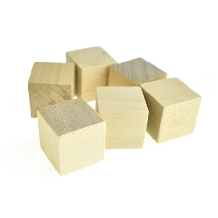 Natural Wooden Cube Blocks, 1-Inch, 6-Piece