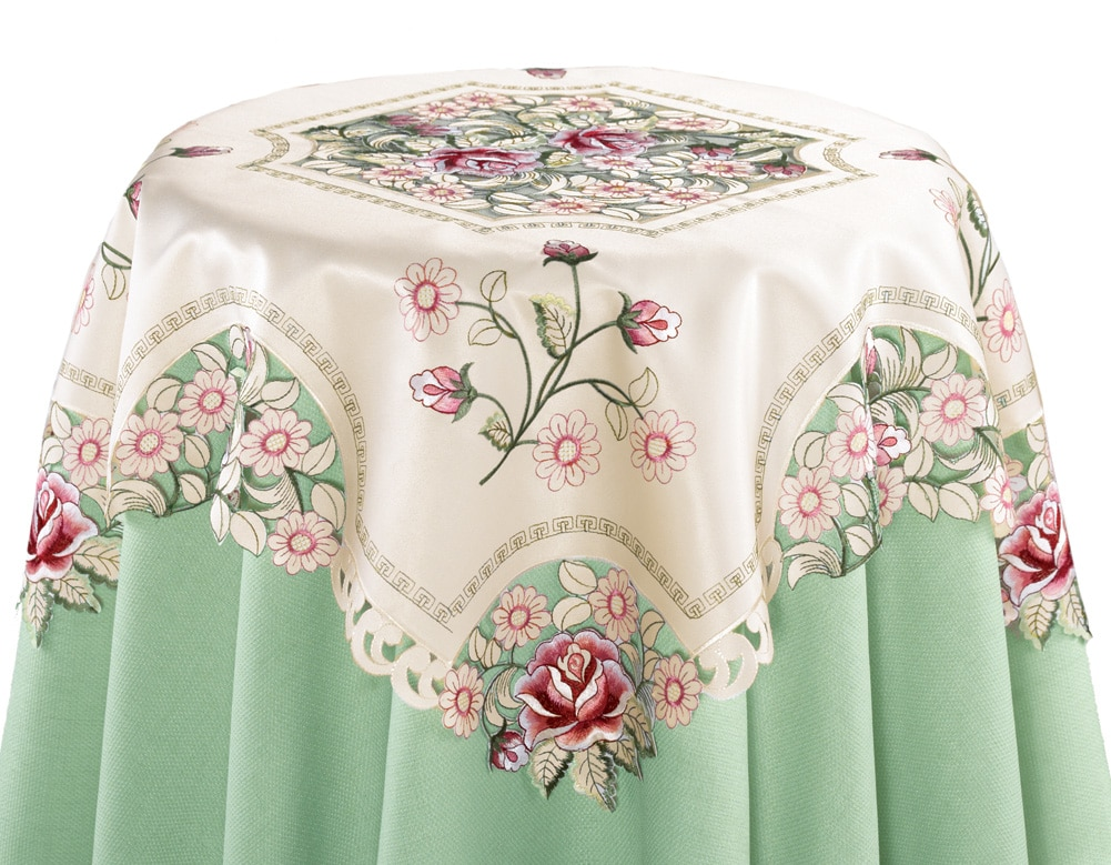 Embroidered Rose Decorative Table Linens, Square, Beige by Collections Etc