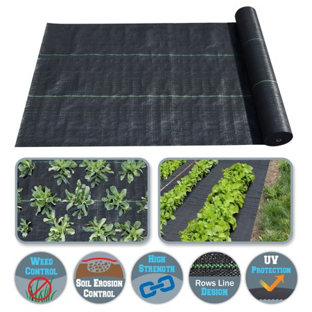 Sunrise 3'x100' Weed Barrier Garden Landscape Fabric Durable Heavy-Duty Weed Block Gardening Mat (Garden Weed Mat)