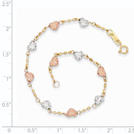 14K Tri Color Gold Tri-color Puff Heart Bracelet - image 1 de 2