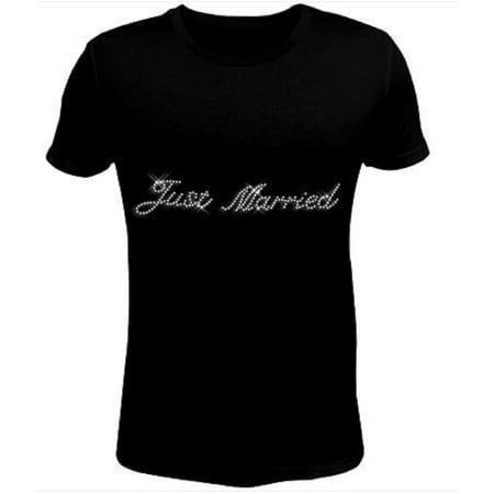 Bling Rhinestone Womens T Shirt Just Married JRW-170-SC