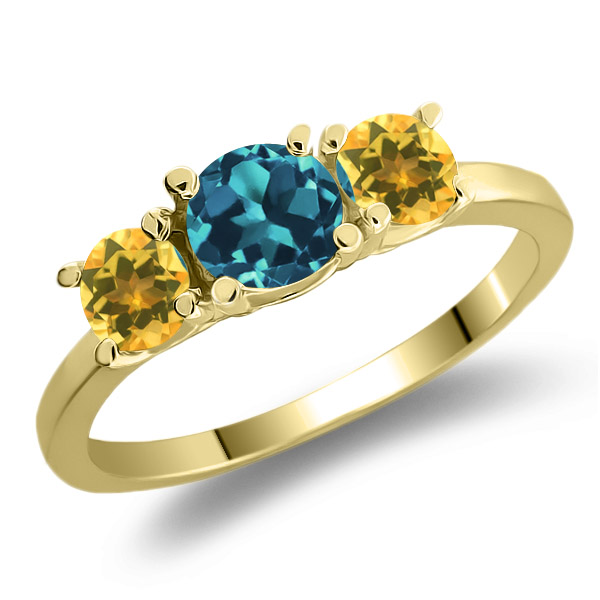 1.07 Ct London Blue Topaz Yellow Citrine 925 Yellow Gold Plated Silver Ring