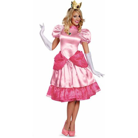 Super Mario Brothers Deluxe Princess Peach Women's Adult Halloween Costume](Princess Peach Mario Bros)
