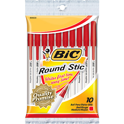 Bic Round Stic Ball Pens Medium Point 10/Pkg-Red
