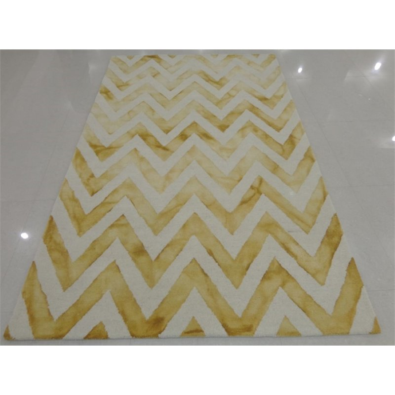 "Safavieh Dip Dye 2'3"" X 6' Hand Tufted Wool Pile Rug in Ivory and Gold - image 7 of 10"
