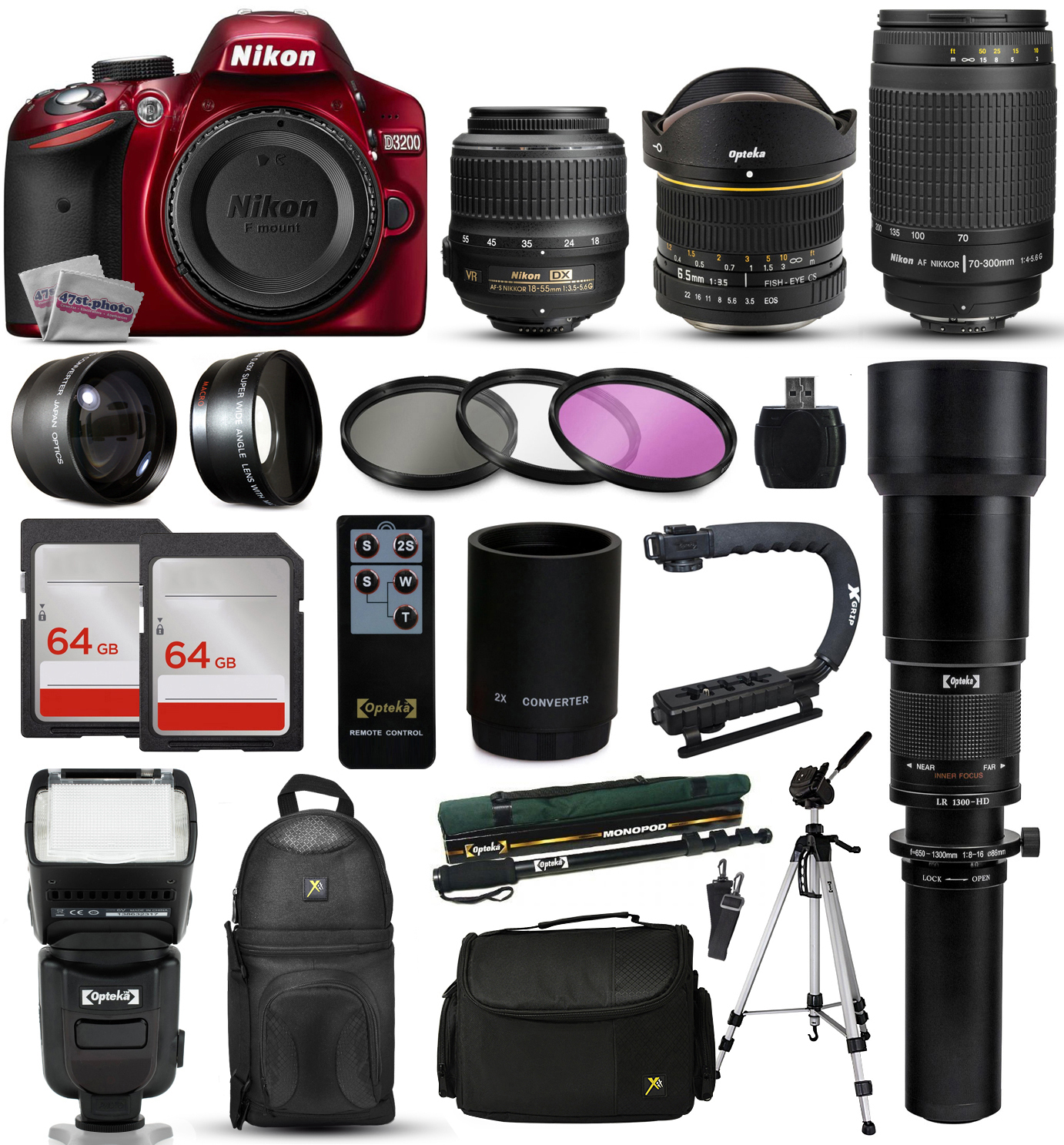 "Nikon D3200 Red DSLR Digital Camera + 18-55mm VR + 6.5mm Fisheye + 55-300mm VR + 650-2600mm Lens + Filters + 128GB Memory + Action Stabilizer + i-TTL Autofocus Flash + Backpack + Case + 70"" Tripod"