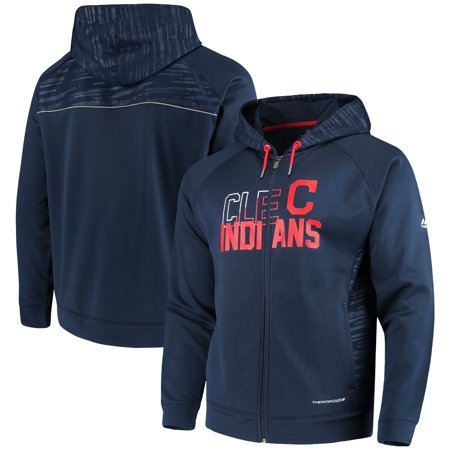 Mlb Hooded Therma Base - Cleveland Indians Majestic MLB Chin Music Full Zip Therma Base Hoodie - Navy