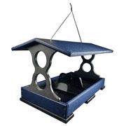 JCs Wildlife Large Blue/Gray Poly Fly-Thru Bird Feeder w/ Removable Seed Tray