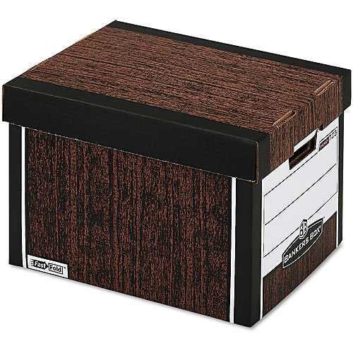 Bankers Box R-Kive Max Storage Box, Letter/Legal, Locking Lid, Woodgrain, 4/Carton