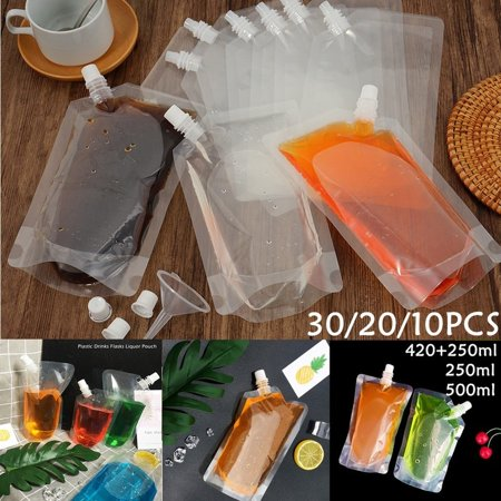 Halloween Party Foods To Make (30/20/10Pcs 250/500ml Clear Food Grade PE Reusable Blood Energy Drink Bag Halloween Party)