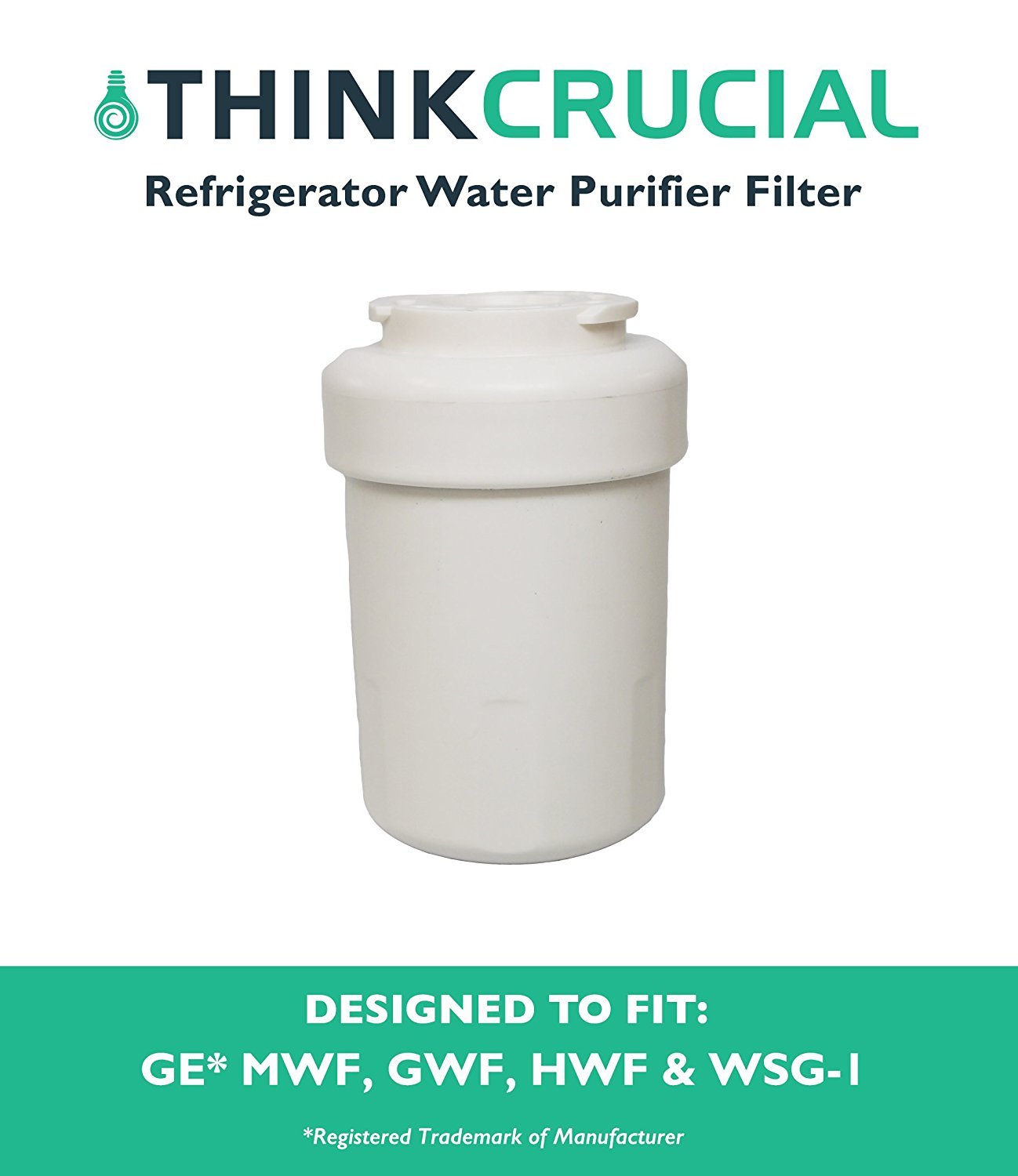 Water Purifier Filter Fits GE Refrigerator MWF GWF HWF 46-9991 WSG-1 WF287 EFF-6013A, Designed & Engineered by By Think... by