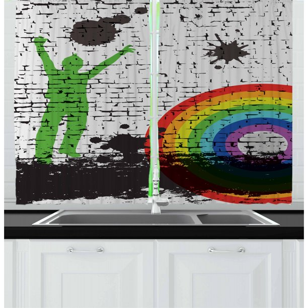 Urban Graffiti Curtains 2 Panels Set Rainbow Contoured Bulls Eye Pattern With A Green Man Silhouette Splashes Window Drapes For Living Room Bedroom 55w X 39l Inches Multicolor By Ambesonne Walmart Com