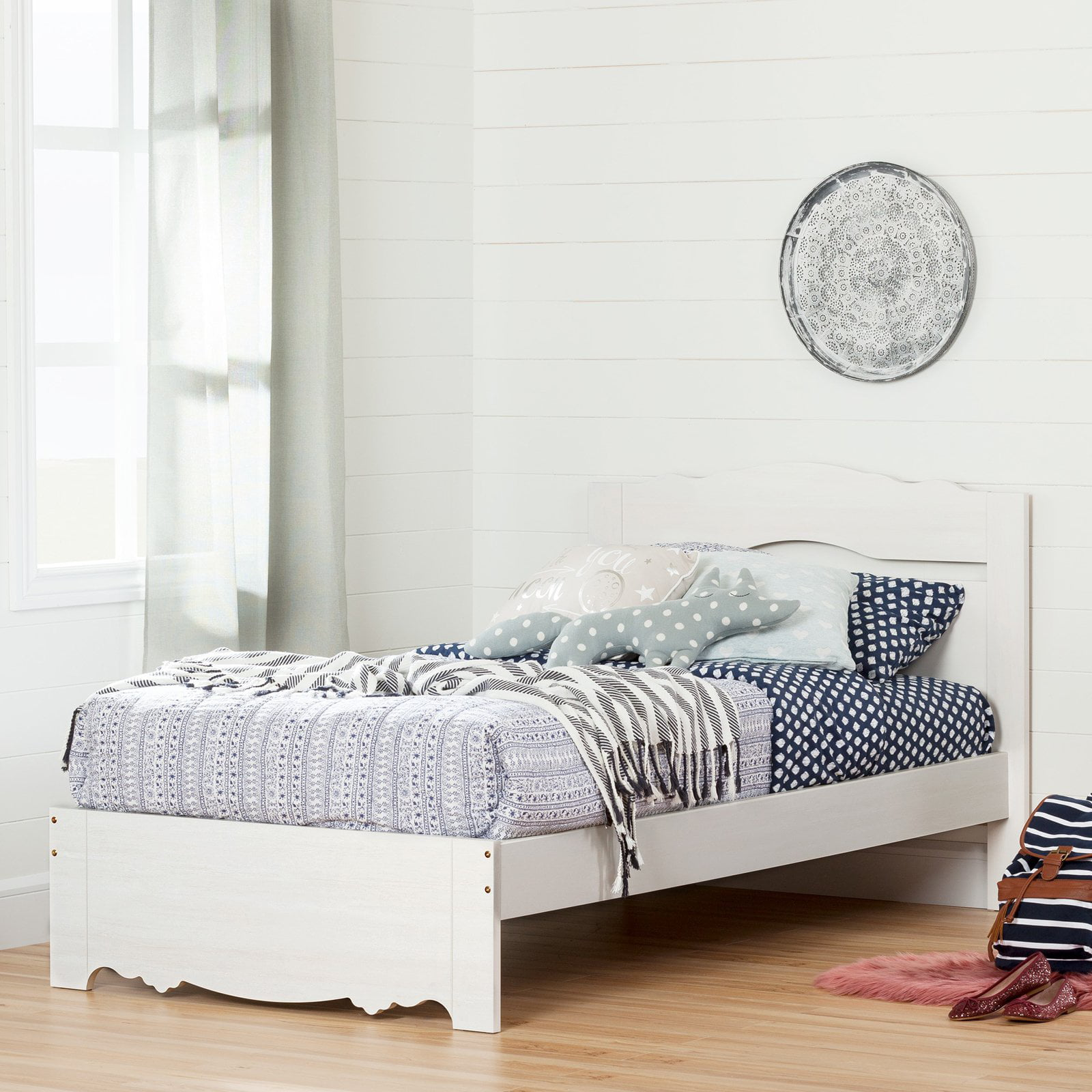 "South Shore Caravell Twin Bed Set (39""), White Wash by South Shore"