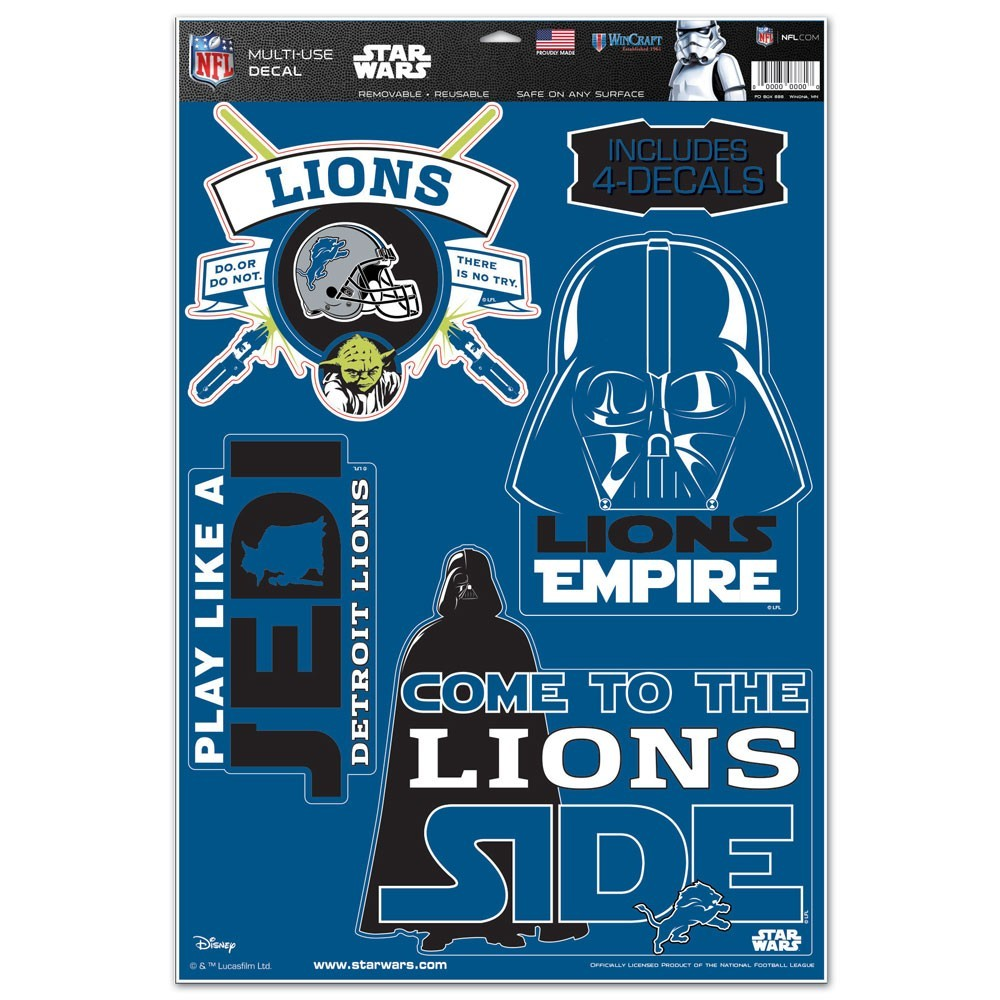 Detroit Lions Official NFL 11 inch  x 17 inch  Star Wars Darth Vader Car Window Cling Decal by Wincraft