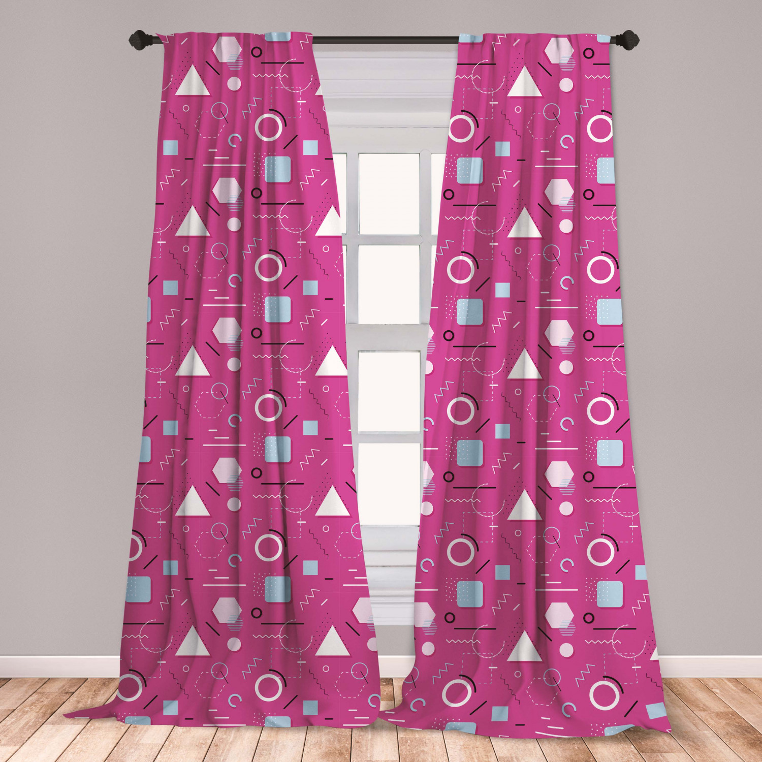 Geometric Curtains 2 Panels Set Vintage Memphis Style Triangles Hexagons And Squares Eighties Design Window Drapes For Living Room Bedroom Pink Pale Blue Black By Ambesonne Walmart Com Walmart Com