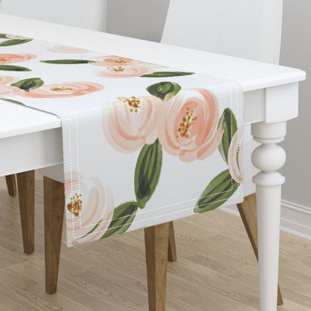 Table Runner Floral Floral Rose Blush Flowers Watercolor Floral Cotton Sateen
