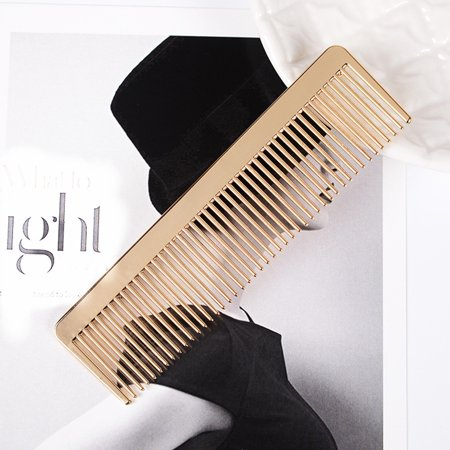 Metal Comb Professional Quality Hairdressing Barber Metal Comb Gold Decoration